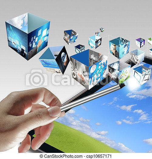 businessman hand point to virtual business process diagram - csp10657171
