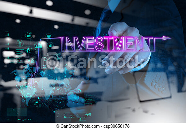 businessman hand pointing to investment diagram - csp30656178