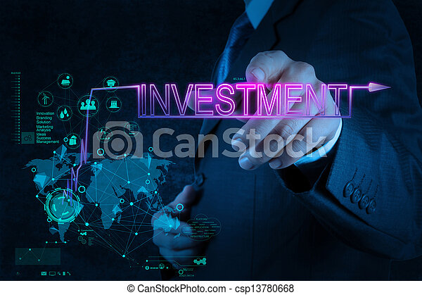 businessman hand pointing to investment diagram - csp13780668
