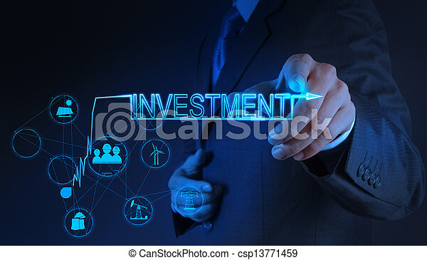 businessman hand pointing to investment concept - csp13771459