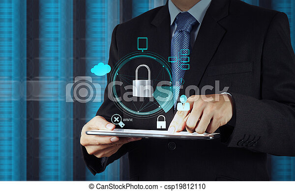 businessman hand pointing to padlock on touch screen computer as Internet security online business concept  - csp19812110