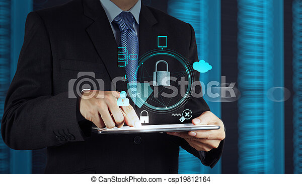 businessman hand pointing to padlock on touch screen computer as Internet security online business concept  - csp19812164