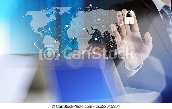 businessman hand pointing to padlock on touch screen computer as - csp22645364