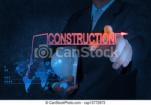businessman hand pointing to construction - csp13772973