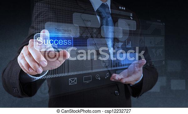 businessman hand pointing to success diagram  - csp12232727