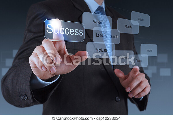 businessman hand pointing to success diagram - csp12233234