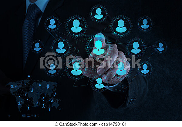 businessman hand points human resources, CRM and social media  - csp14730161