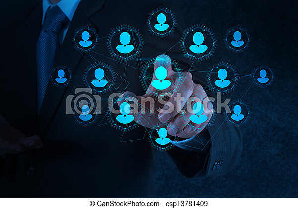 businessman hand points human resources, CRM and social media  - csp13781409