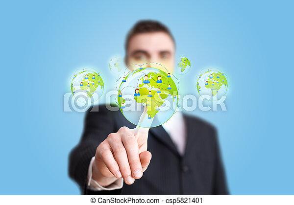 Businessman hand pressing Social network icon 2 - csp5821401