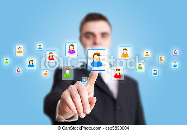 Businessman hand pressing Social network icon 2 - csp5830004