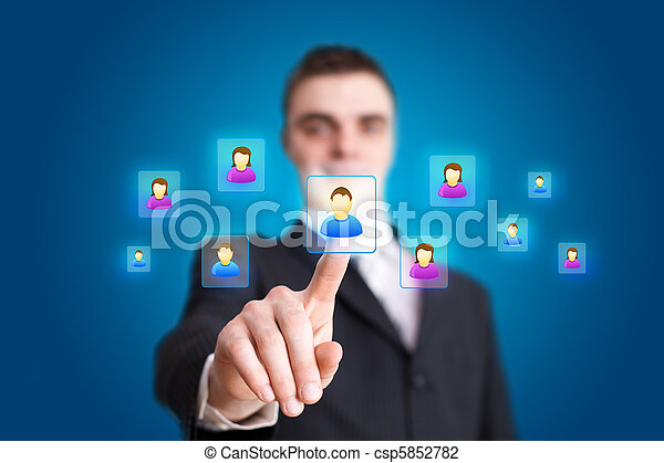 Businessman hand pressing Social network icon 2 - csp5852782