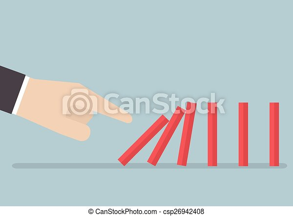 Line Art Effect Photo : Businessman hand pushing the domino effect vector eps10
