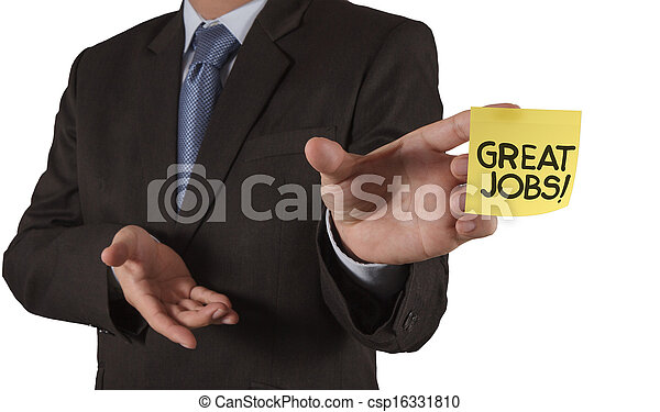 businessman hand show great jobs words on sticky note with white background as concept - csp16331810