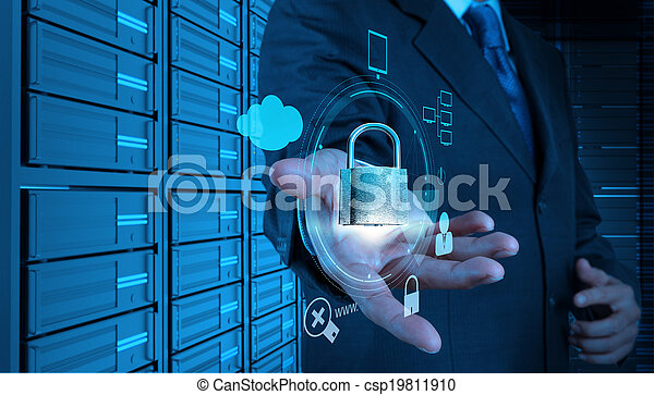 businessman hand showing 3d padlock on touch screen computer as Internet security online business concept  - csp19811910