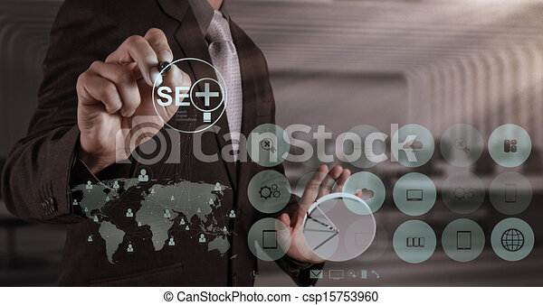 businessman hand showing search engine optimization SEO - csp15753960