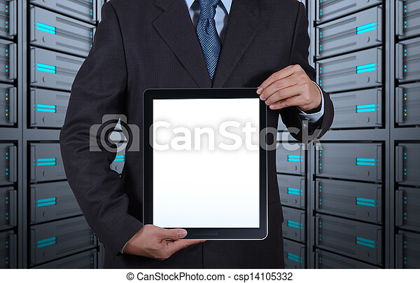 businessman hand shows blank tablet computer and server room background as concept - csp14105332