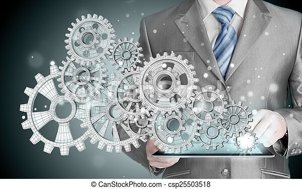 businessman hand touch  gear to success concept - csp25503518