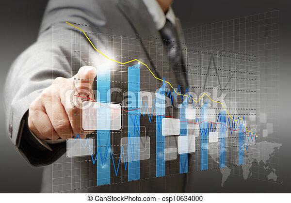 businessman hand touch virtual graph, chart, diagram - csp10634000
