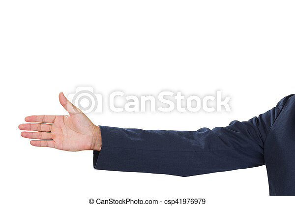 Businessman hand with grey shit isolated on white background. clipping path - csp41976979