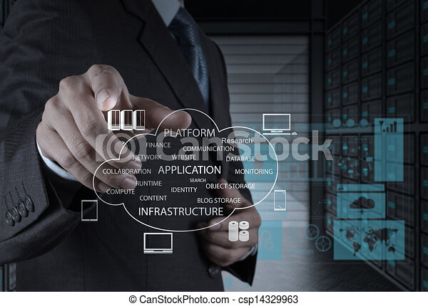 Businessman hand working with a Cloud Computing diagram on the new computer interface as concept - csp14329963
