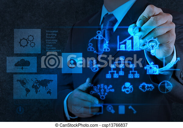 businessman hand working with new modern computer and business strategy as concept - csp13766837