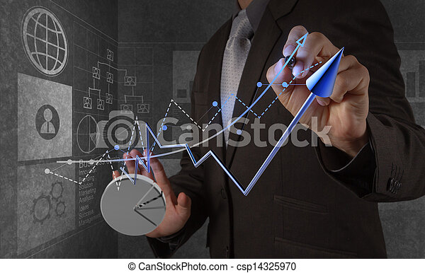 businessman hand working with new modern computer and business strategy as concept - csp14325970