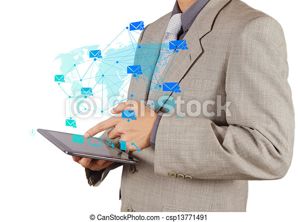 businessman hand working with tablet computer sending email - csp13771491