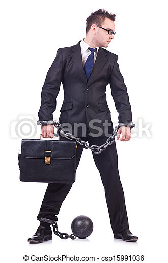 Businessman handcuffed isolated on white - csp15991036