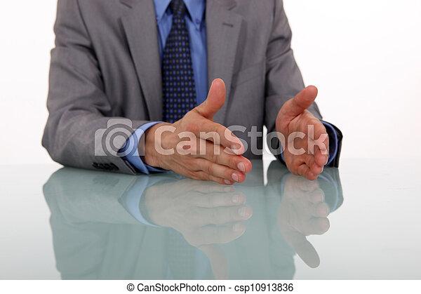 businessman hands gesturing while speaking - csp10913836
