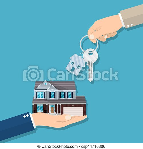 Businessman hands giving key for house - csp44716306