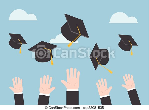 Businessman hands throwing graduation hat in the air - csp33081535