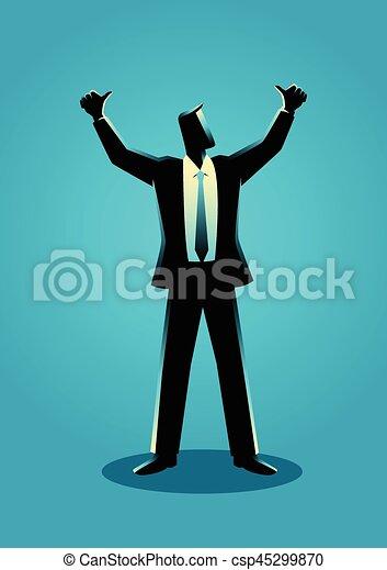 Businessman hands up - csp45299870