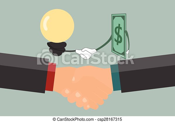 Businessman handshake , exchange money and idea. - csp28167315