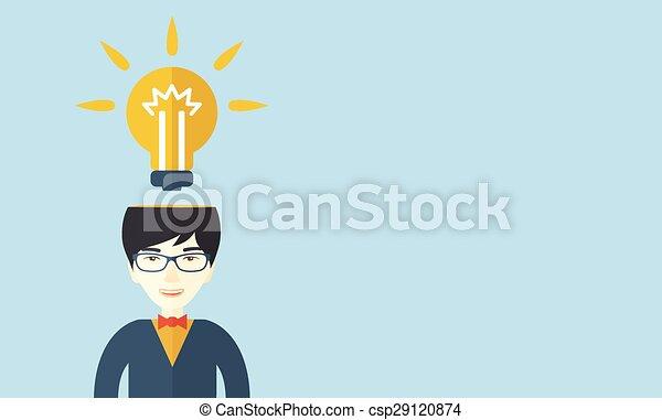 Businessman has a bright idea. - csp29120874