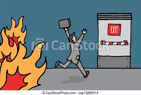 Businessman heading for emergency exit - csp13999014