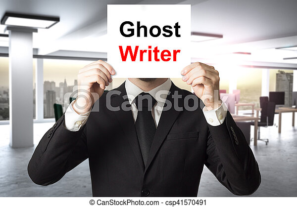 businessman hiding face behind sign ghost writer - csp41570491