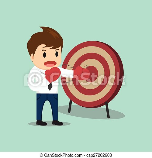 Businessman hitting the target vector illustration - csp27202603