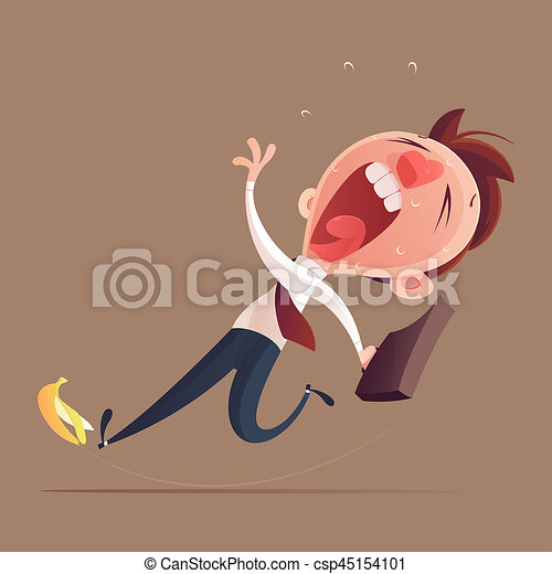 Businessman hold bag slipping on a banana peel, Business concept illustration. - csp45154101