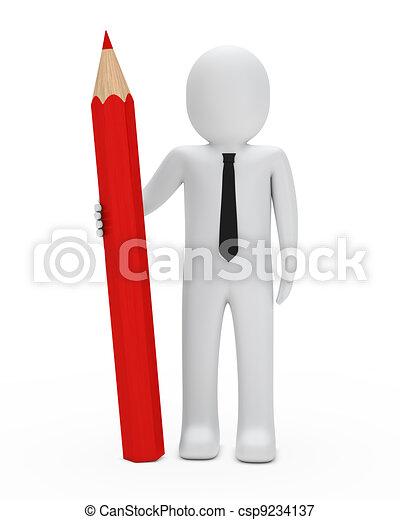 businessman hold pencil - csp9234137