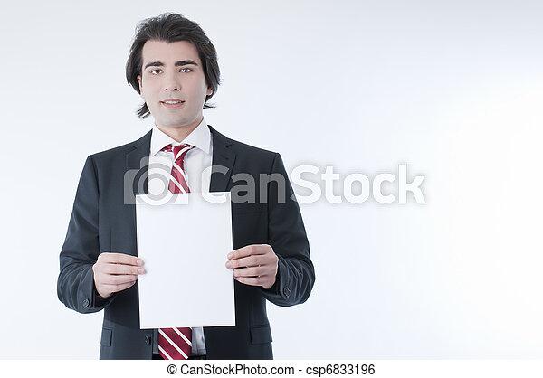 Businessman holdind an empty advert - csp6833196