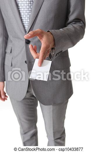 businessman holding a business card - csp10433877