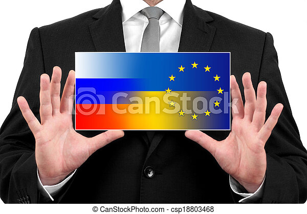 Businessman holding a business card with Ukraine, EU and Russia Flag - csp18803468