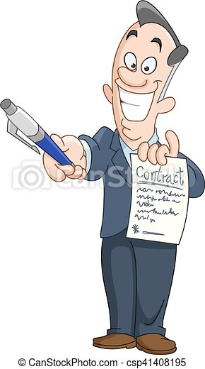 Businessman holding a contract - csp41408195