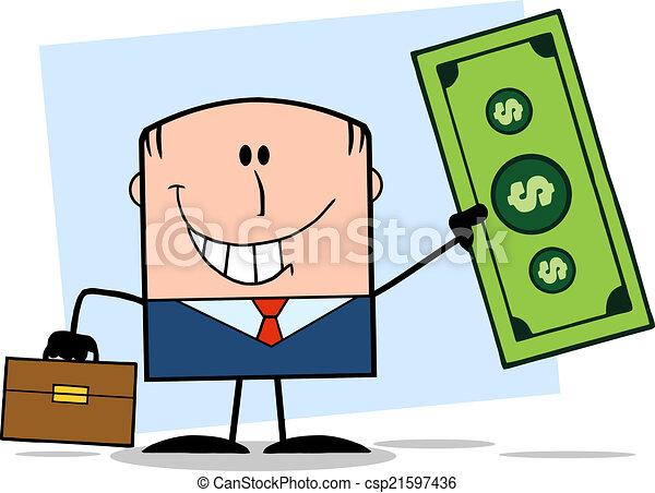 Businessman Holding A Dollar Bill  - csp21597436