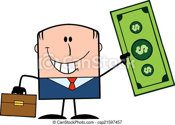 Businessman Holding A Dollar - csp21597457