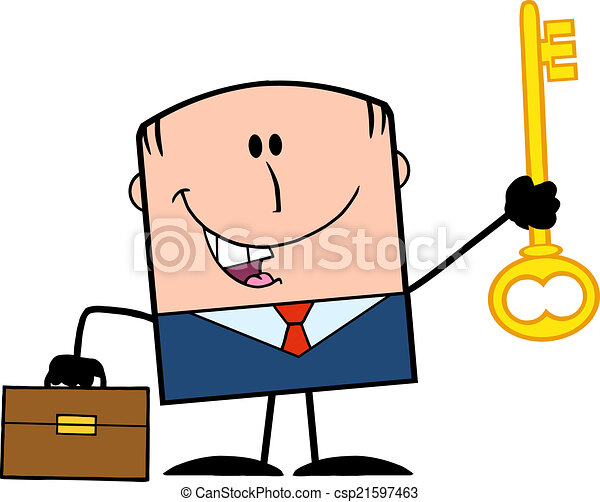 Businessman Holding A Golden Key  - csp21597463