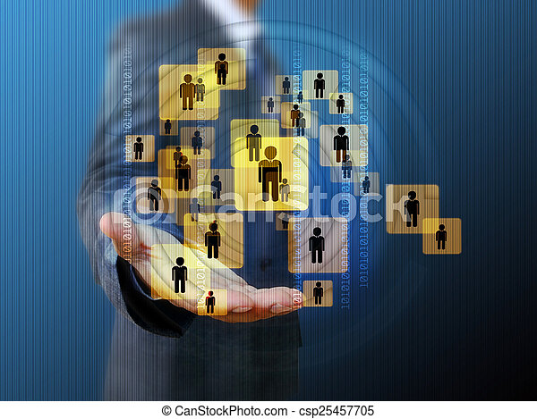 businessman holding a group of business people - csp25457705