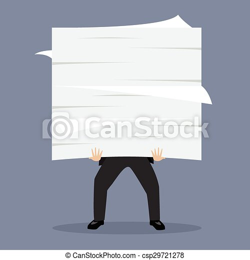 Businessman holding a lot of documents - csp29721278
