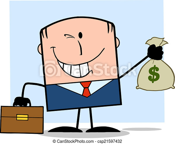 Businessman Holding A Money Bag - csp21597432
