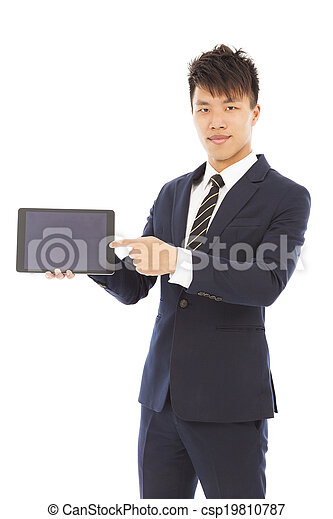businessman holding a tablet to presenting - csp19810787
